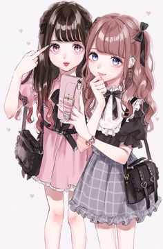 Anime Angel Girl, Dark Anime Girl, Manga Anime Girl, Cool Anime Girl, Pretty Anime Girl, Anime Neko, Kawaii Anime Girl, Friend Anime, Anime Best Friends