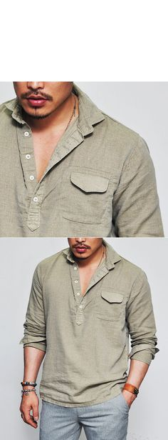 Tops :: Shirts :: Laid-back Holiday Linen Henley Neck-Shirt 92 - Mens Fashion Clothing For An Attractive Guy Look