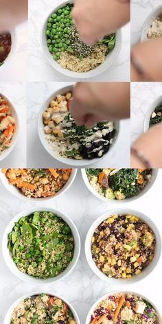 Today I'm going to show you how to make healthy quinoa bowls 6 amazing ways! We've got 6 awesome variations that are easy to make, great vegan meal prep ideas and keep well in the fridge. These healthy meal prep recipes are going to become a staple in your weekly meal plan!