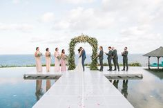 """Pandawa Cliff Estate Bali - Jasmine Lee (@jasmineleephoto) on Instagram: """"Still swooning over this beautiful ceremony set up - a floating stage on top of the infinity pool.…"""""""
