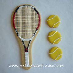 tennis racket and tennis ball cookies Iced Sugar Cookies, Star Cookies, Fancy Cookies, Cut Out Cookies, Cute Cookies, Cupcake Cookies, Cupcakes, Tennis Cake, Royal Icing Sugar