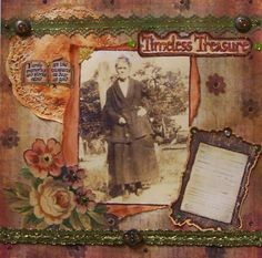 My Mind's Eye - Timeless Treasure - Heritage Layout, Frugal Scrapbooking Another heritage layout! This one also features pattern paper. Heritage Scrapbook Pages, Vintage Scrapbook, Scrapbook Layouts, Old Family Photos, Funny Inspirational Quotes, Pattern Paper, Antiques, Cards, Ancestry