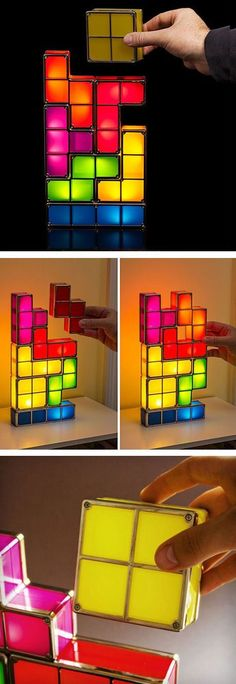 Tetris Stackable LED Desk Lamp Hand over the L shape, please? Seven-piece interlocking light Pieces can be stacked any way Super-bright LED bulbs inside!