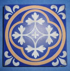Antique Minton Co Stoke Upon Trent Encaustic Tile Fleur de Lis Pattern | eBay