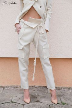 Tapered Pants/Loose linen Pants/ Casual Drop Crotch Pants/Wide Leg Pants/ Straight leg pants/Trousers/White Linen Pants/F1554