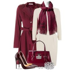 Dress: Armani Collezioni Stretch Wool Sheath, Coat: Mauve Helena, Pumps: Louboutin So Kate Patent Leather Point-Toe Rouge Noir, Handbag: Gucci Lady Lock Leather Top, Scarf: Diane Von Furstenberg Modal Leopard, Bracelet: High Glamour 1950's Round & Baguette Cut Diamond, Earrings: Swarovski Tempo Pierced  ~ via Fashion Wife