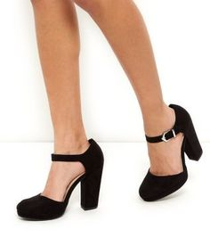 Black Ankle Strap Platform Block Heels