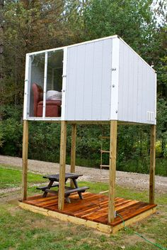 Children's Elevated Outdoor Play House by PlayHausDesign tiny house nation for kids