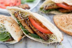Baked Italian Herb Tofu Pita Pockets & How to Press Your Tofu Like a Champ #vegan #lunch