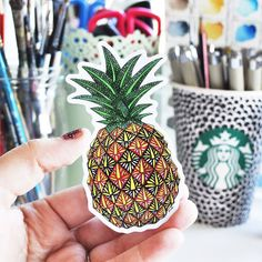 Pineapple Vinyl Sticker Pattern by NicoleStefanieDesign on Etsy