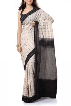 Beige & Black Cotton Ikat Saree