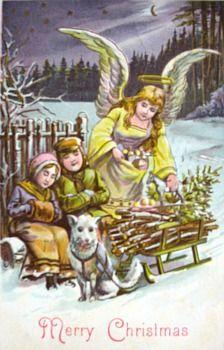 Vintage Pastels Card Christmas ~ Guardian Angel & Kids