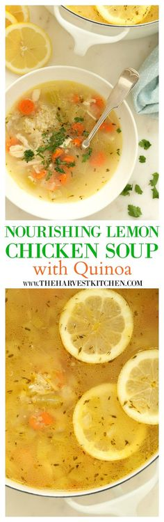 This Nourishing Lemon Chicken Quinoa Soup is loaded with tender bites of chicken, protein packed quinoa, and some fresh vegetables all simmered in a cozy lemony chicken broth seasoned with thyme. healthy recipes healthy soup re Healthy Soup Recipes, Detox Recipes, Cooking Recipes, Protein Recipes, Vegetable Recipes, Healthy Snacks, Chicken Quinoa Soup, Chicken Protein, Chicken Bites