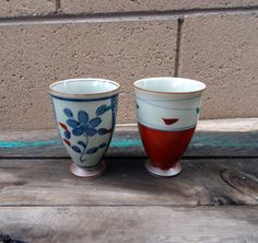 Vintage 2 Japanese Stoneware Teacups, Floral And Leaf Design, Asian Teacups, by TiesofMyFather on Etsy