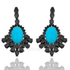 Brinco Com Pedras Naturais de Onix e Turquesa Banho de Rodio Negro semijóia (semi joias finas online acessórios acessories fine jewelry)