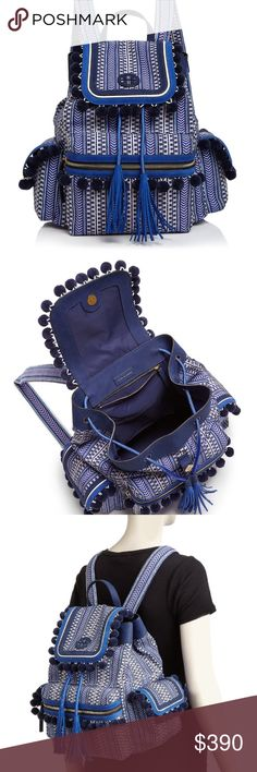 Tory Burch Scout pompom backpack Only used a couple times super cute Tory Burch Bags Backpacks