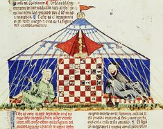 """""""Arabs Playing Chess,"""" from the Book of Games (fol. 62v), by Alfonso X the Wise (1221–1284). Spain, 1283. Real Biblioteca del Monasterio de San Lorenzo del Escorial. Photo: Erich Lessing / Art Resource, NY"""