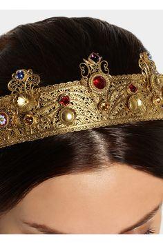 Dolce & Gabbana|Gold-plated Swarovski crystal crown|NET-A-PORTER.COM