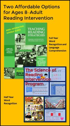 Check out these new intervention programs for older kids-adults. Get two free lessons (over 170 Google slides). Response To Intervention, Reading Assessment, Reading Intervention, Common Core Vocabulary, Academic Vocabulary, Teaching Vocabulary, Teaching Reading Strategies, Reading Resources, Reading Comprehension