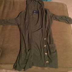 Olive green hooded cardigan Size S...can fit medium American Eagle Outfitters Sweaters Cardigans