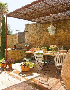 12 Pergola Patio Ideas that are perfect for garden lovers! Outdoor Rooms, Outdoor Dining, Outdoor Gardens, Dining Area, Dining Room, Dining Table, Patio Design, Garden Design, Rustic Outdoor