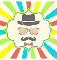 Hipsters hat glasses moustache vector - by marina_abcd on VectorStock®