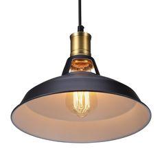 S&G Vintage Metal Industrial Pendant Lamps Retro Ceiling Lamp Edison Bulb Cafe Pendant Lighting Kitchen Restaurant Fixture Drop Light, Black: Amazon.co.uk: Lighting