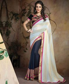 Buy Pleasing Off White And Grey Designer Sarees online at  https://www.a1designerwear.com/pleasing-off-white-and-grey-designer-sarees  Price: $38.69 USD