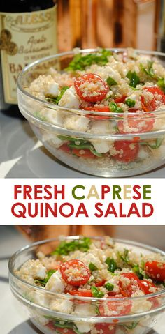 Quinoa Salad: 1/2 cup quinoa,  8 oz fresh moz, 1 carton grape tomatoes- halved, fresh basil -to taste, 2 tbsp olive oil, 2 tbsp  balsamic vinegar, salt & pepper