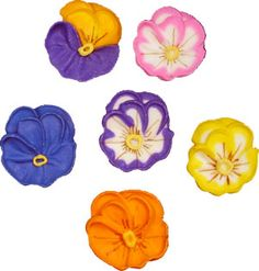 "Medium Pansies. Royal Icing. 1"" - Item #410404. Certified Kosher. Gluten Free. Nut Free. Dairy Free. 0 gram Trans Fats."