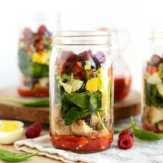 Spring Cobb Salad with Raspberry Basil Vinaigrette + Mason Jar Salad Recipes - Fit Foodie Finds