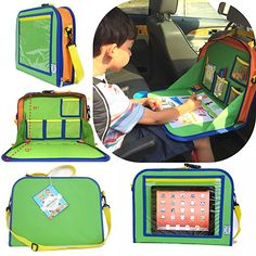 Kids Backseat Travel Tray Organizer Holds Crayons Markers an iPad Kindle or Other Tablet. Great for Road Trips and Travel used as a Lap Tray Writing Surface or as Access to Electronics for Kids Age Travel Tray For Kids, Car Games To Play, Crayon Organization, Car Organization Kids, Backseat Car Organizer, Lap Tray, Back Seat, Hold On, Age 3