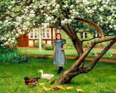 "Hans Andersen Brendekilde Danish "" The Flower Tree "" Privat Belgian Collection. Art Works, Art Painting, Art For Art Sake, Painting Illustration, Painting, Cool Art, Artwork Images, Andersen, Art World"