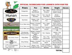bar golf score card - Google Search