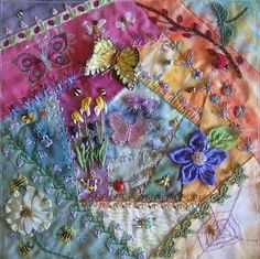 """Crazy Quilting Work by the members of the """"Crazy Quilting International""""..."""
