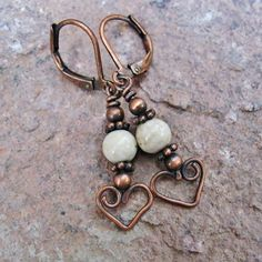 Bear Hug Dangles - wire wrapped dangle earrings with antiqued copper and riverstone beads