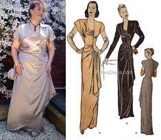 1940's Fashion, Cap Sleeves, Neckline, Sari, One Piece, Gowns, Dinner, Patterns, Formal Dresses