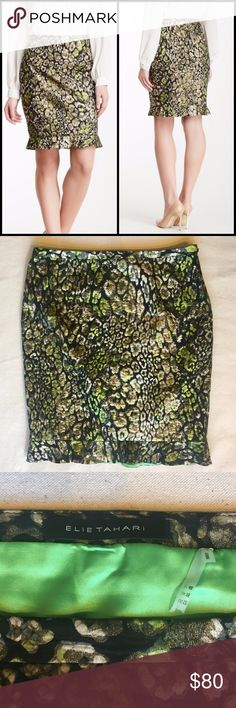 Elie Tahari RUTH SKIRT, Lemongrass Multi, Sz 12 Excellent, like-new condition!  The Ruth Skirt has a metallic snakeskin jacquard print with a feminine flair. The ruffle at the bottom and the texture give this style an edge in your wardrobe. Banded waist. Allover textured metallic print. Bottom ruffled trim. Side zip closure. Lined. Shell: 56% polyester, 30% cotton, 7% lurex, 7% nylon. Lining: 96% polyester, 4% elastane. Size 12. Style No. E7082303. Elie Tahari Skirts Pencil