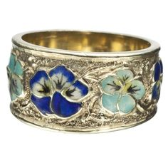 1910s Art Nouveau Pansy Enamel Ring.  I would like to do this one in PMC with enamel,