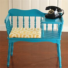 how to redo an antique phone bench to make it updated, trendy and a great conversation piece in your home!