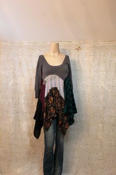REVIVAL Women's Upcycled Boho Knit Shirt Shabby Chic by REVIVAL, $65.00