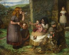 Bubbles, Cottage Scene with Children by John Dawson Watson Date painted: 1856 Oil on wood panel, 35 x 44 cm Collection: The Higgins Art Gallery & Museum, Bedford John Dawson, Vie Simple, Munier, John Russell, Creation Photo, Soap Bubbles, Art Uk, Figure Painting, Contemporary Artists