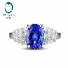 CaiMao 18KT/750 White Gold 2.1 ct Natural IF Blue Tanzanite AAA 0.17 ct Full Cut Diamond Engagement Gemstone Ring Jewelry