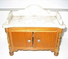 Antique German Schneegas miniature doll house washstand