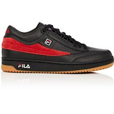 "Fila x Gosha Rubchinskiy Men's ""T-1 Mid\"" Leather & Suede Sneakers ($150) ❤ liked on Polyvore featuring men's fashion, men's shoes, men's sneakers, mens leather sneakers, mens suede shoes, mens lace up shoes, mens perforated shoes and mens sneakers"