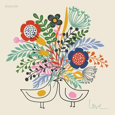 Spring Love... limited edition giclee print of an by helendardik