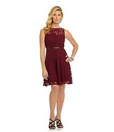 Donna Morgan Belted Lace Dress | Dillard's Mobile