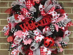 Summer Door Wreath, Summer Deco Mesh Wreath, Front Door Wreath, Summer Front Door Wreath, Summer Wreath, Ladybug Wreath, by Fromthesouthdesigns on Etsy https://www.etsy.com/listing/235774853/summer-door-wreath-summer-deco-mesh