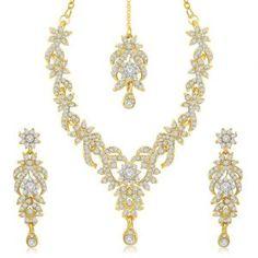 Sukkhi Trendy Gold Plated Australian Diamond Stone Studded Necklace Set