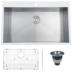 Ruvati RVH8000 Tirana Overmount 16 Gauge 33 Inch Stainless Steel Kitchen Sink Single Bowl is made by the brand Ruvati and is a member of the Tirana collection. It has a part number of RVH8000.